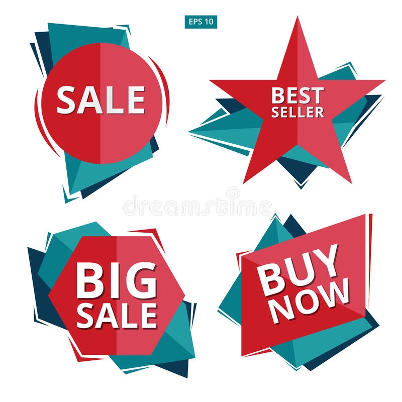 Collection of Sale Discount Styled origami Banners, Labels, Tags royalty free illustration
