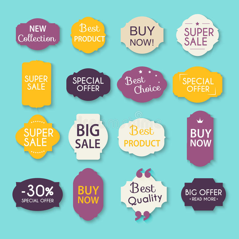 Collection of Sale Discount Styled origami Banners. Vector Illus stock illustration
