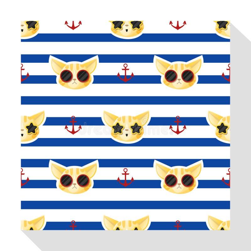 Collection sans couture animale de modèle avec le chat illustration stock