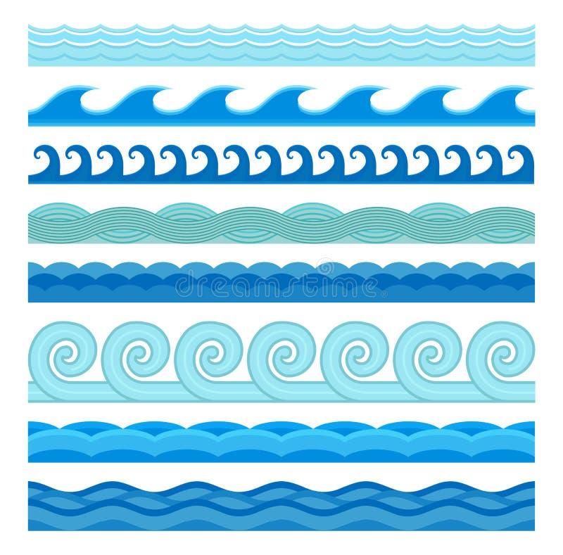 Collection sans couture d'icônes de vecteur plat de style de vagues illustration stock