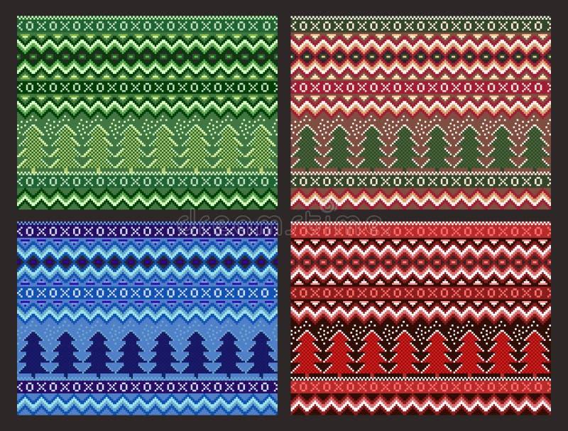Collection sans couture de modèle de Noël Pins et flocons de neige de pixel de vecteur réglés illustration libre de droits