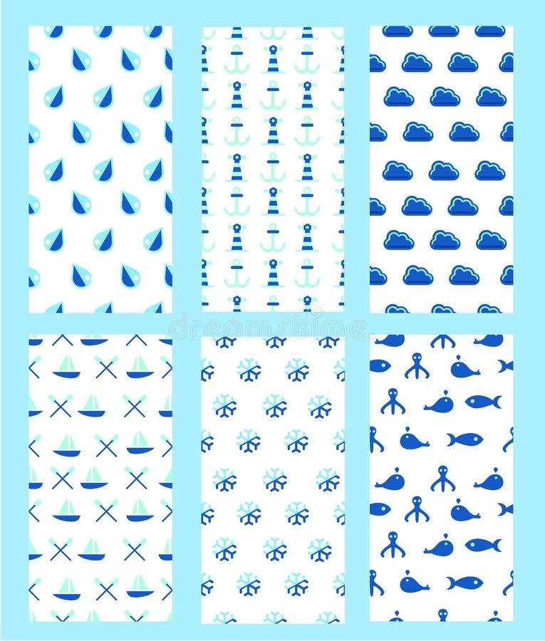Collection sans joint de configurations Éléments de l'eau Thèmes aquatiques et marins Temps et voyage en mer illustration libre de droits