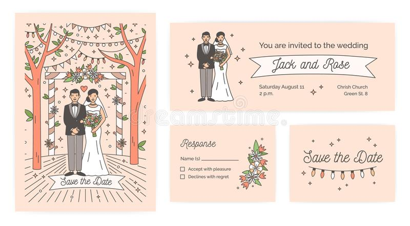 Collection of Save The Date card, wedding ceremony invitation and response note templates with cute cartoon bride and stock illustration