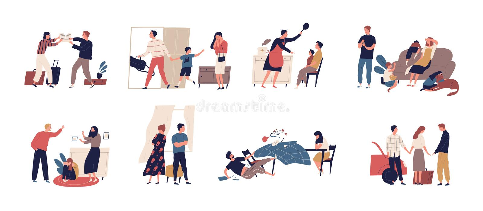 Collection of scenes of family conflict or relationship problem with unhappy married couples and children. Bundle of royalty free illustration