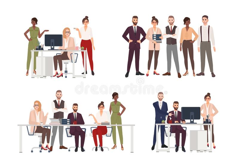 Collection of scenes with group of office workers or people working on computer, having business meeting or. Brainstorming, standing together. Colorful cartoon royalty free illustration