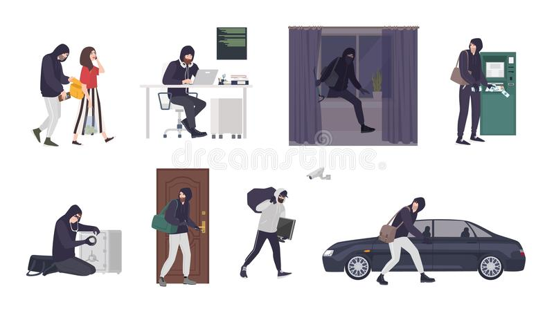 Collection of scenes with male thief or burglar wearing mask and black clothes stealing things from woman s handbag, ATM royalty free illustration