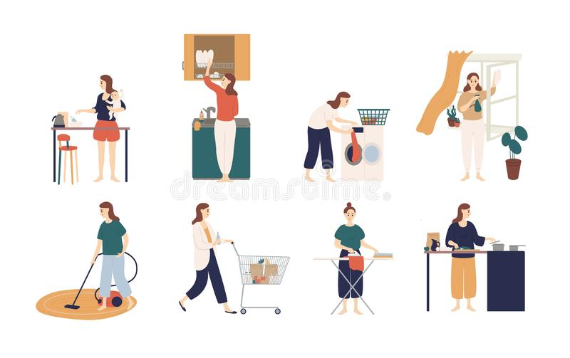 Collection of scenes with woman or housewife doing housework - washing dishes, ironing clothes, cleaning window, cooking. Feeding baby, shopping. Colorful royalty free illustration