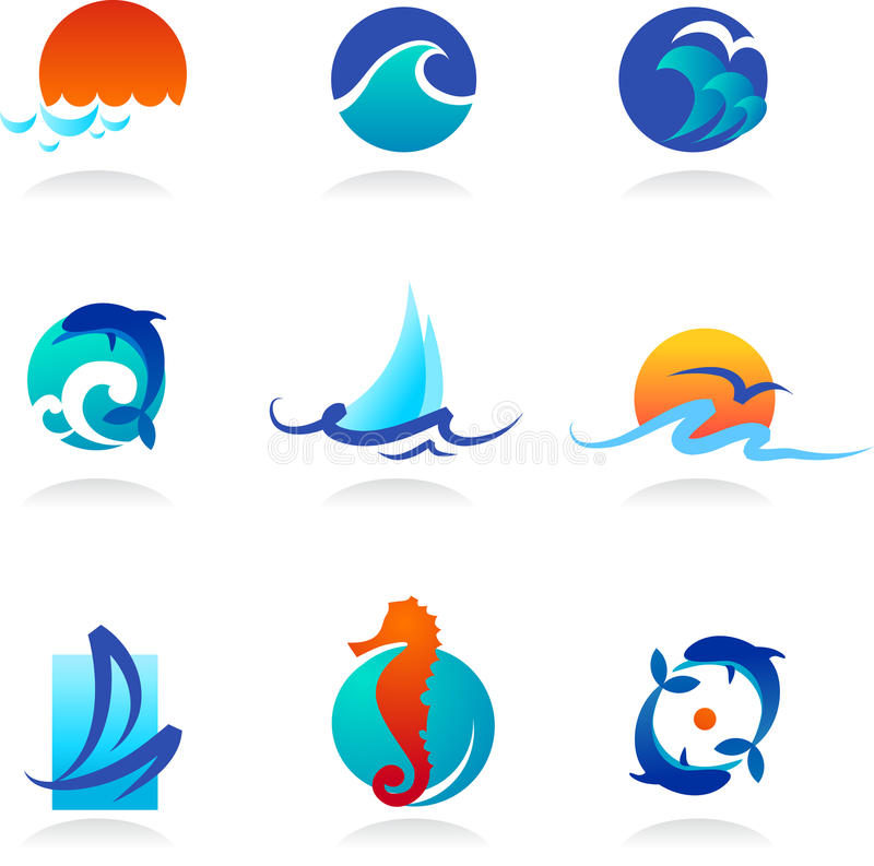 Collection of sea related icons stock illustration