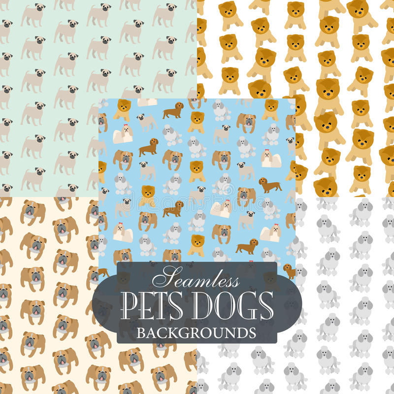 Collection of seamless backgrounds on the topic of pets dogs vector illustration