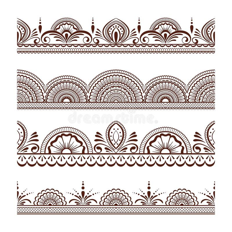 Collection seamless border with floral ornament mehendi style. royalty free stock photo