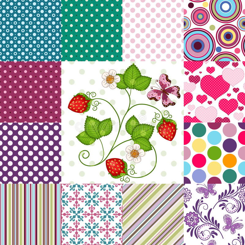 Collection seamless colorful patterns vector illustration
