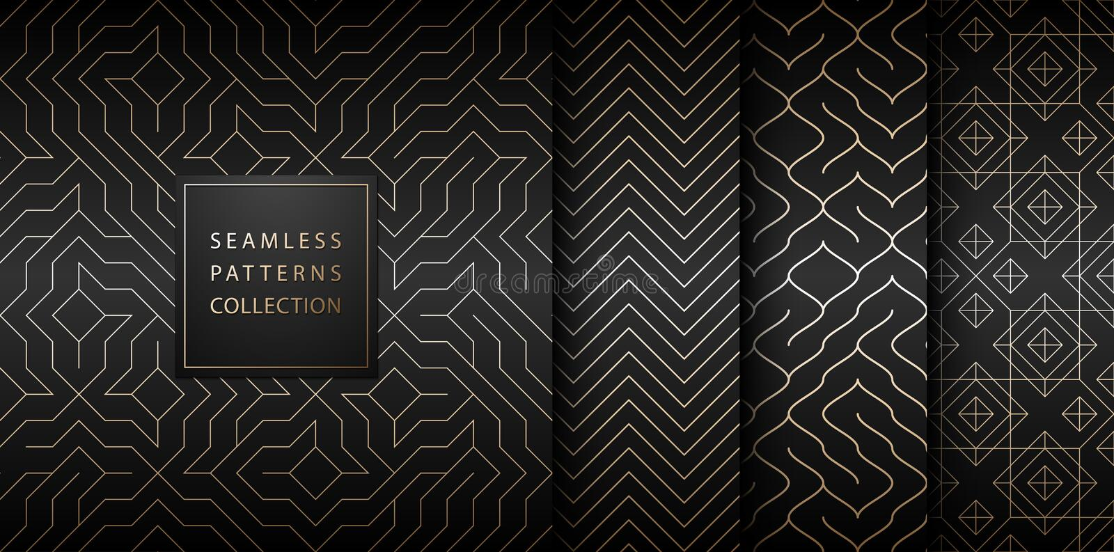Collection of seamless geometric golden minimalistic patterns. Simple vector graphic black print background. Repeating line stock illustration