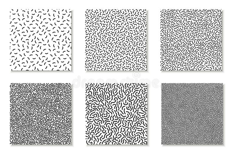 Collection of seamless memphis patterns, cards. Mosaic black and white textures. Fashion design 80 - 90s stock illustration