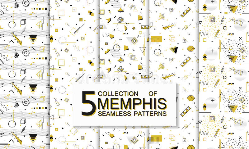 Collection of seamless memphis patterns with geometric shapes. Fashion 80-90s. stock illustration