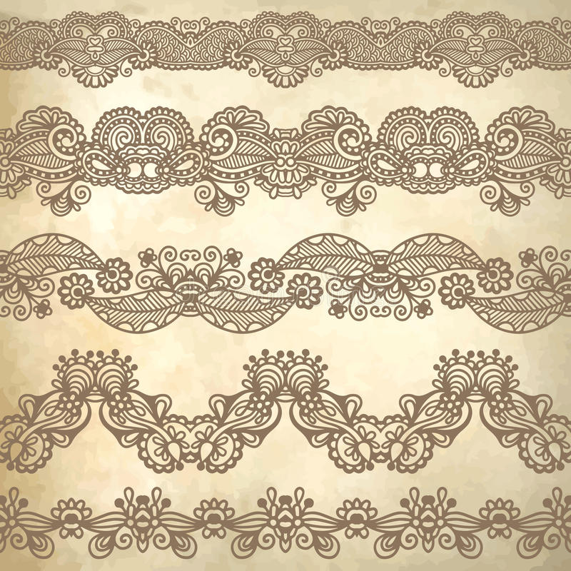 Collection of seamless ornamental floral stripes. Vector illustration stock illustration
