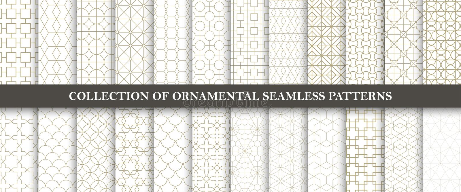 Collection of seamless ornamental vector patterns. Grid geometric oriental design. stock illustration