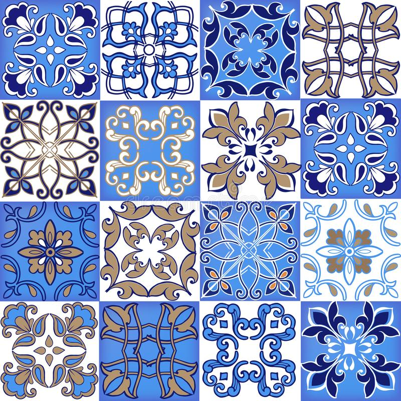 Collection seamless patchwork pattern from Moroccan ,Portuguese tiles in blue and brown colors. Decorative ornament stock illustration