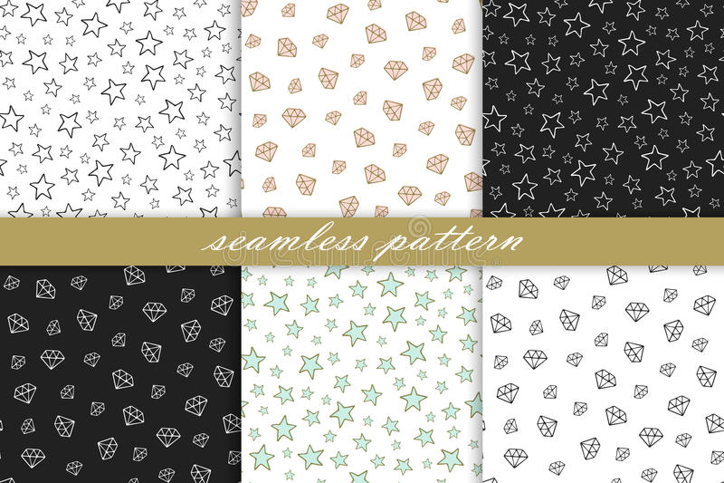Collection of seamless pattern: diamonds and stars vector illustration