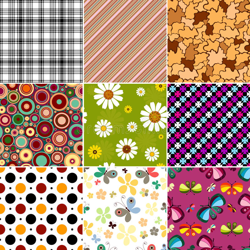 Collection seamless patterns vector illustration