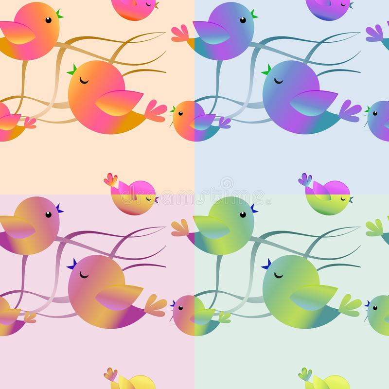 Collection of seamless patterns for printing, with birds. Collection of seamless patterns for printing, textile and wallpapers 4 seamless geometric patterns set vector illustration