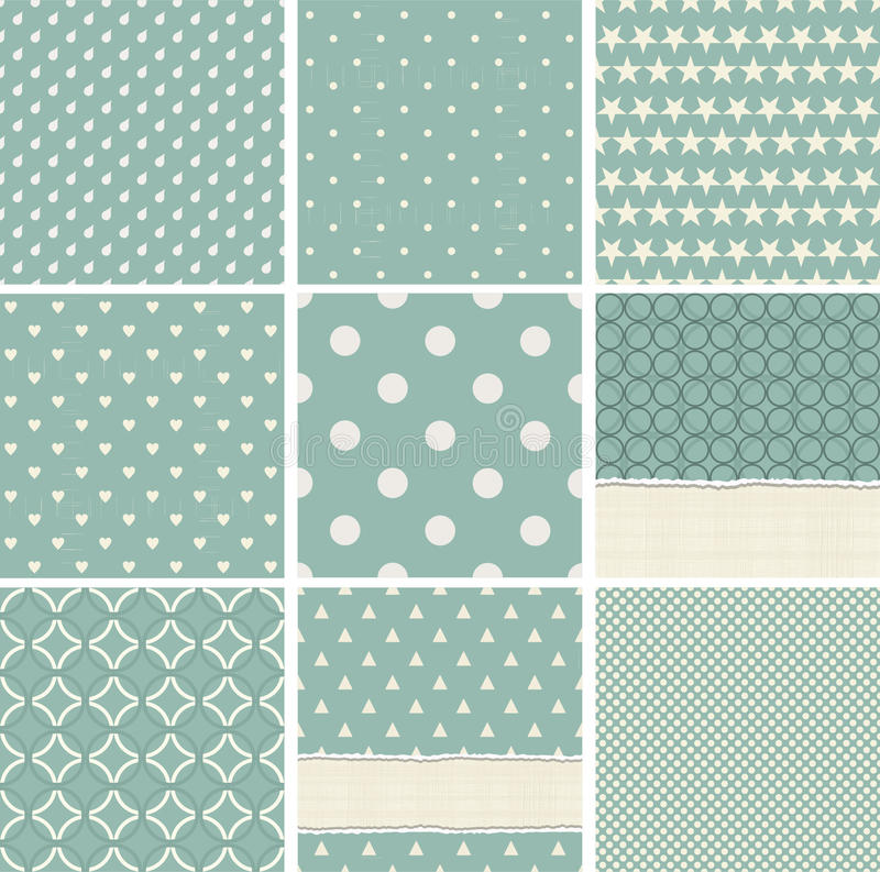 Collection of seamless polka dots pattern. Geometric seamless patterns: stars, polka dots, circles, squares, grid, vector illustration royalty free illustration