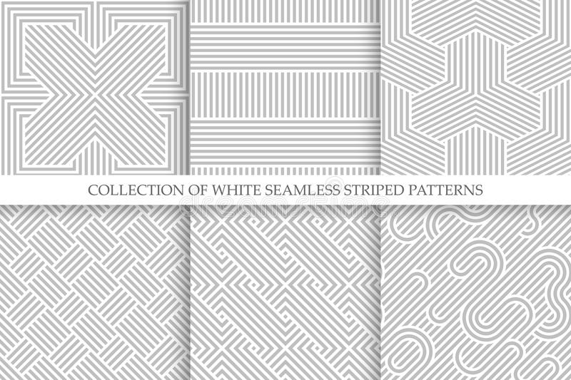 Collection of seamless striped patterns. White and gray repeatable wicker texture.  royalty free illustration