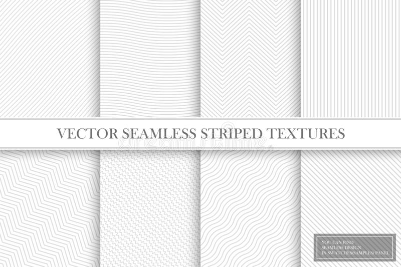 Collection of seamless striped textures - light gray design. Delicate fabric geometric patterns. royalty free illustration