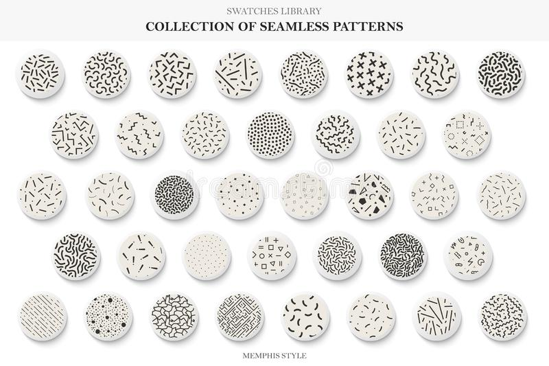 Collection of seamless trendy patterns. Memphis style - fashion 80-90s. Vector repeatable backgrounds. You can find tileable textures in swatches panel royalty free illustration