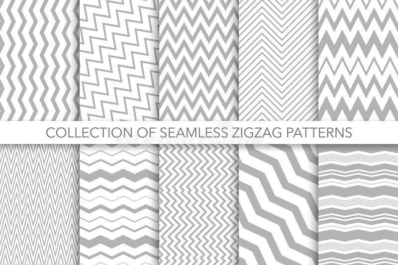Collection of seamless zigzag patterns - vector geometric design. Classic striped textures. You can find repeatable backgrounds in swatches panel royalty free illustration