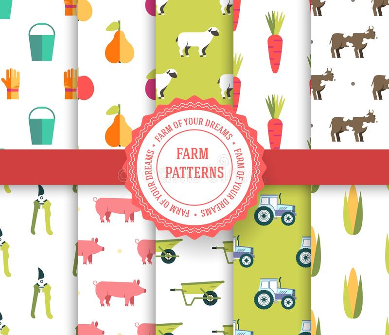 Collection set of agricultural seamless pattern. Farm, instrument, fruits, tractor, animals, tools with label logo concept. Vector vector illustration