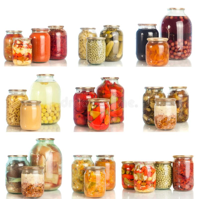 Collection set of canned vegetables in glass jars isolated on white background royalty free stock images