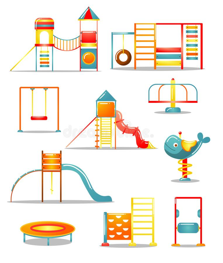 Set of different kid s playground equipment. Vector illustration in flat cartoon style. vector illustration