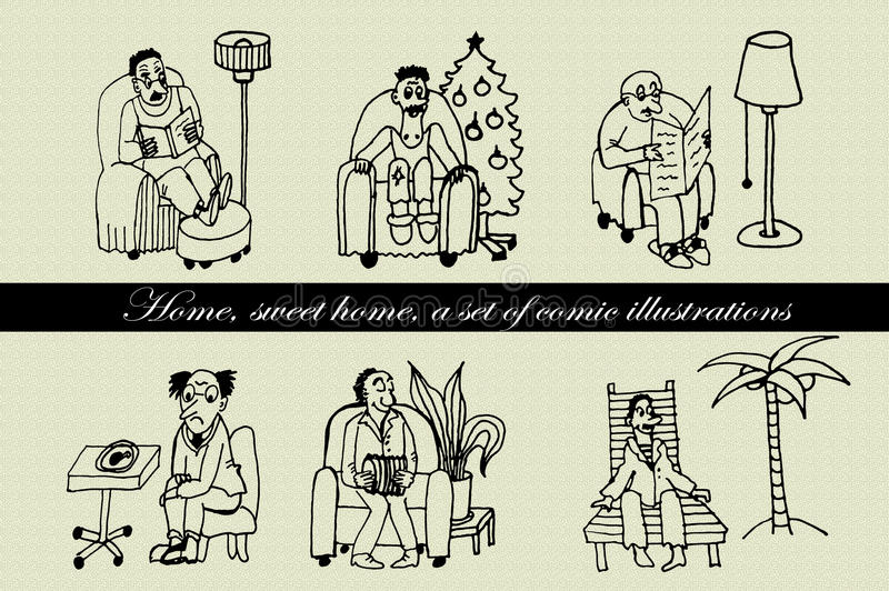 Collection set of comic characters men sitting in a chair hand drawn comic illustration. Collection set of comic characters men sitting in a chair hand drawn ink stock illustration