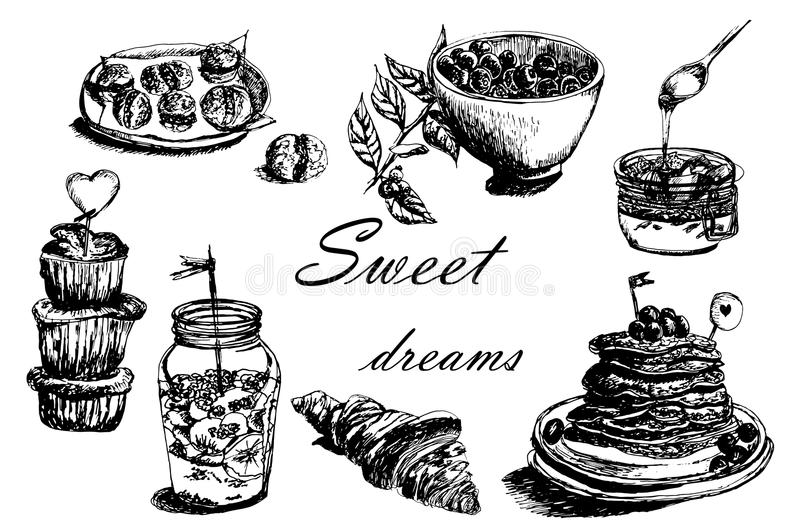Collection set of different desserts: cakes and berries sketch hand-drawn illustration. Collection set of different desserts: cakes, jams and berries sketch hand vector illustration