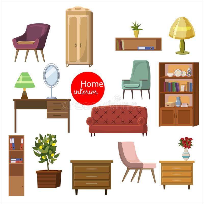 Collection set of elements. designer trendy furniture. table chair sofa lamp mirror plant armchair. modern and retro stock illustration