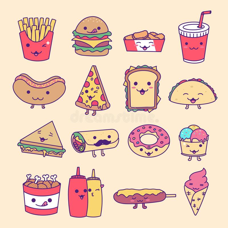 Collection Set of Fast Food, Junk Food, Street Food with cute kawaii face expressions vector illustration