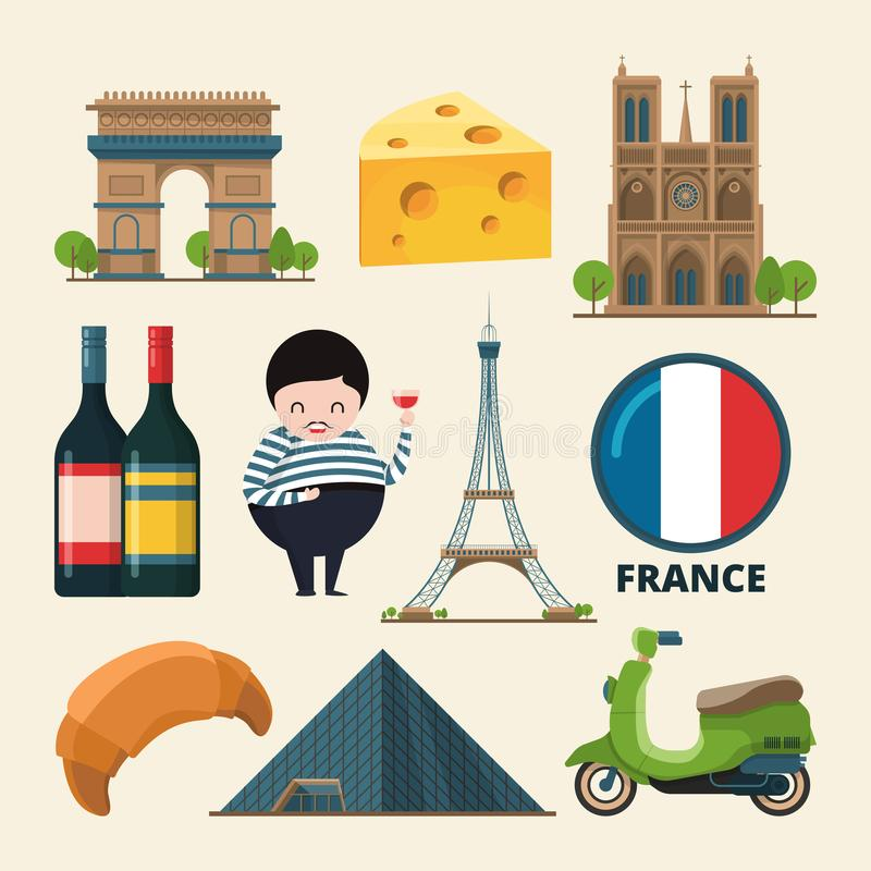 Collection set of france landmarks. Vector icon set in cartoon style. France landmark, tower eiffel, travel and tourism in paris with wine and croissant stock illustration