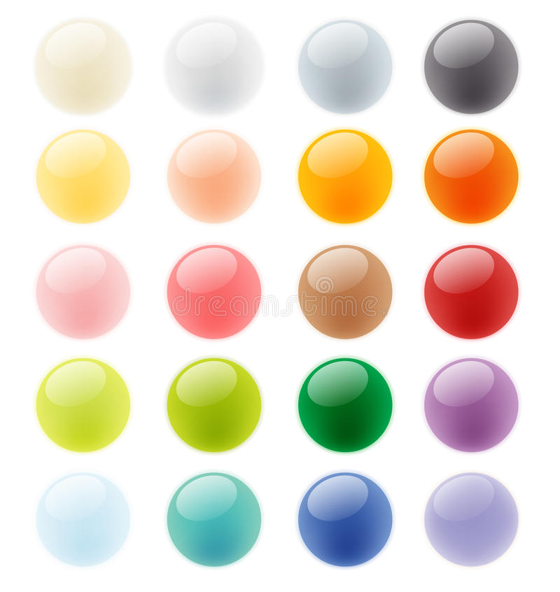 Collection set of glossy colorful button element stock illustration