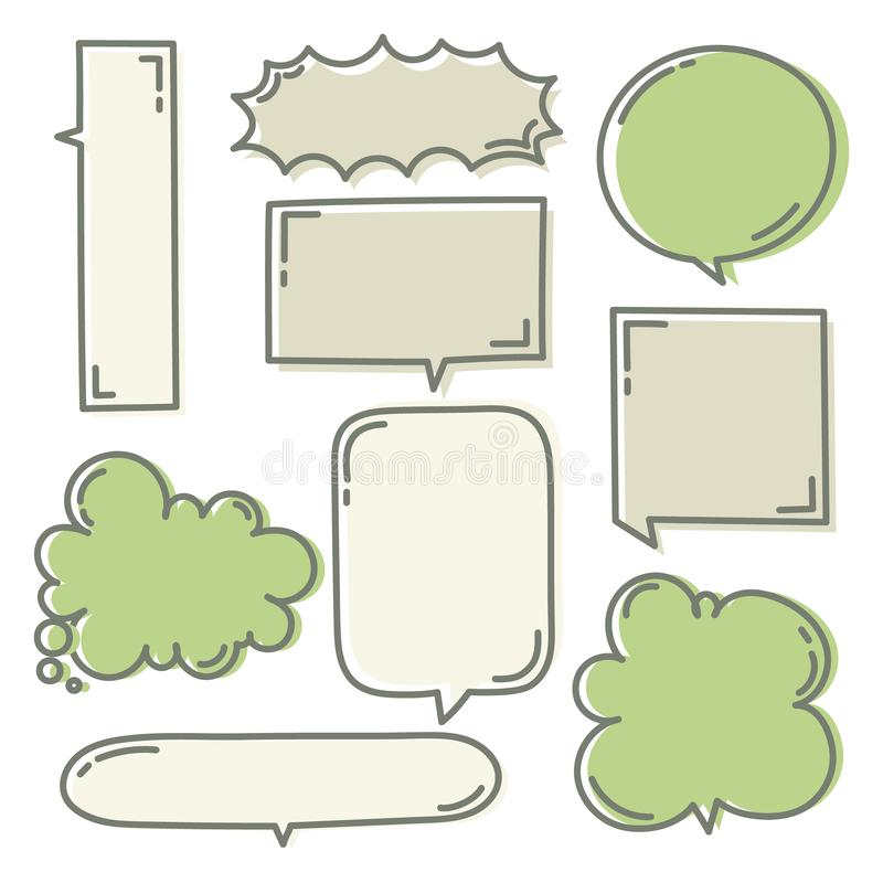 Collection set of hand drawn line frame border,blank speech bubble balloon square shape green color, think, speak, talk, text box stock illustration