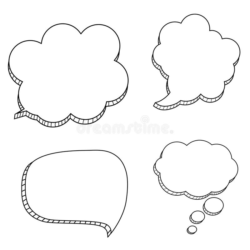 Collection Set of Hand drawn speech bubbles isolated on white icon. Vector Illustration. EPS10 stock illustration