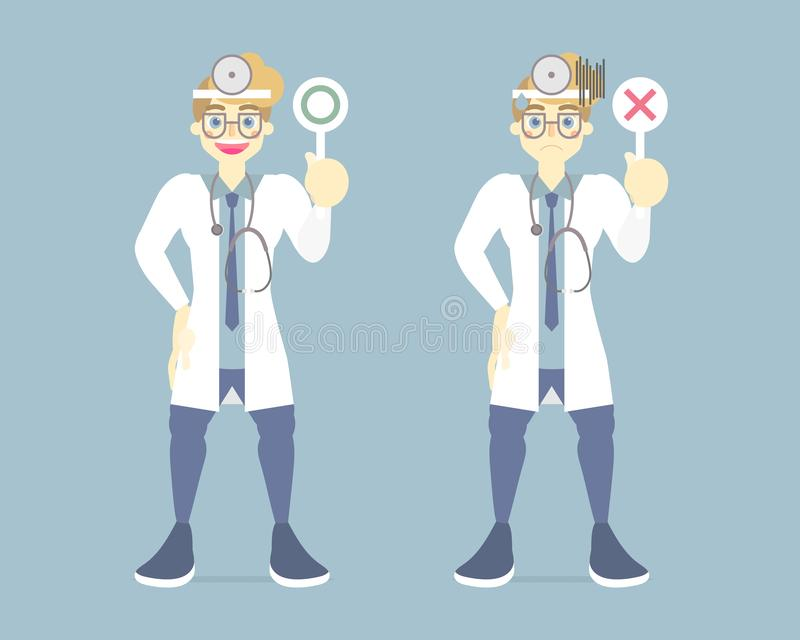 Collection set of happy and sad male doctor health care provider medical holding right, wrong sign symbol, healthy concept. For hospital, background, flat royalty free illustration