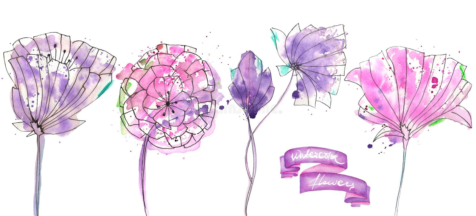 Collection, set with isolated watercolor pink and purple abstract flowers. Collection, set with isolated pink and purple abstract flowers painted in watercolor