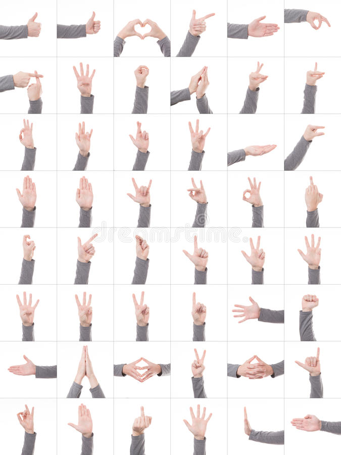 Collection set of many different hands symbols isolated on white background stock image