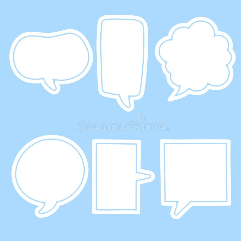 Free Collection Set Of Cute, Sweet, White Hand Drawn Speech Bubble Balloon Think Speak Talk Template Text Box Banner Frame Royalty Free Stock Images - 162273089