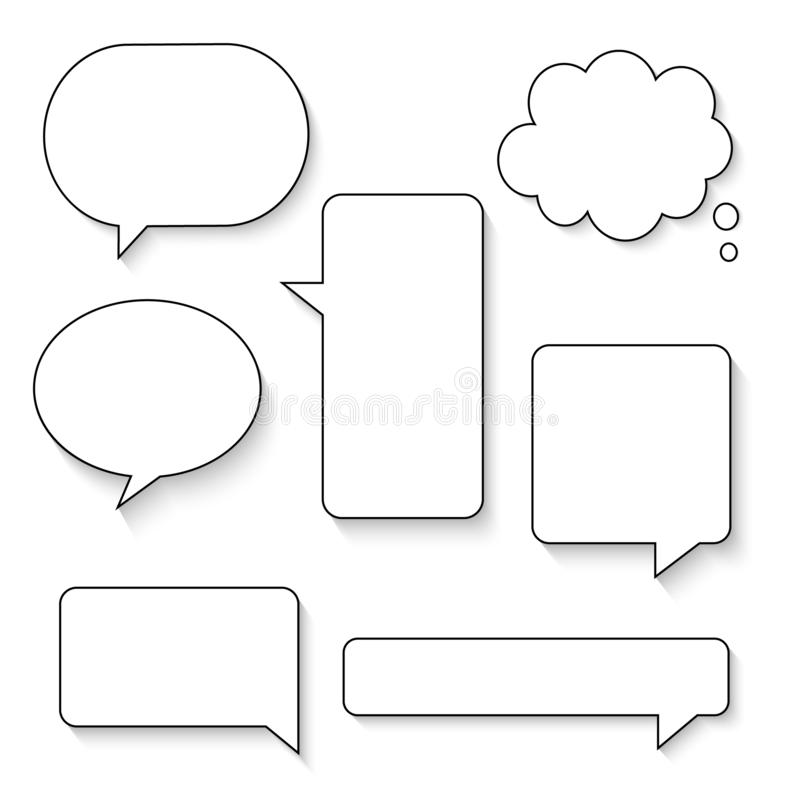 Free Collection Set Of Hand Drawn Line Frame Border,blank Speech Bubble Balloon Square Shape, Think, Speak, Talk, Text Box, Banner Stock Photo - 164619300