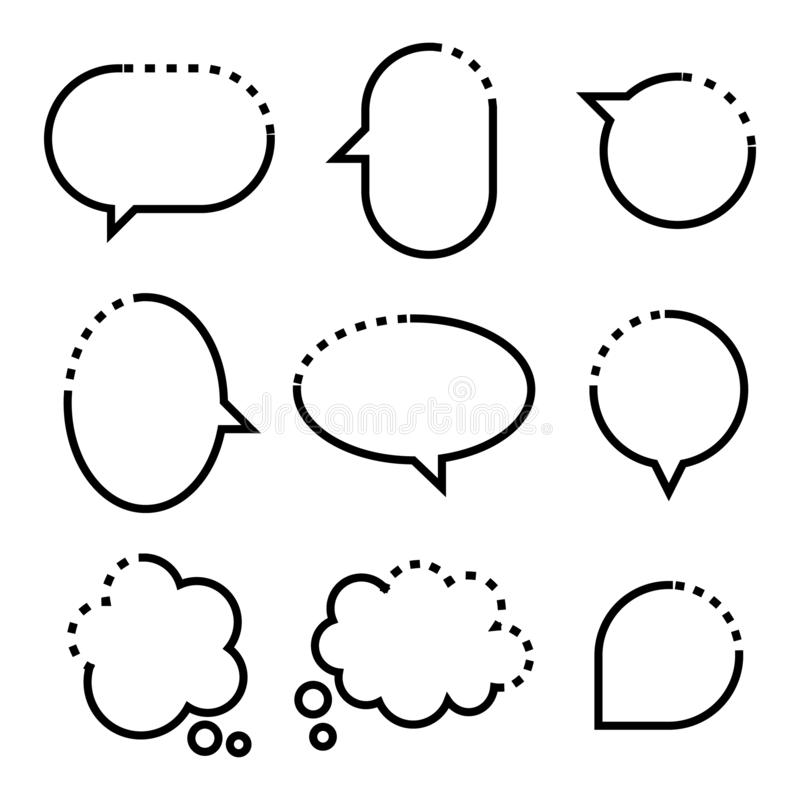 Free Collection Set Of Hand Drawn Line Frame Border,blank Speech Bubble Balloon Square Shape, Think, Speak, Talk, Text Box, Banner Royalty Free Stock Image - 165522026