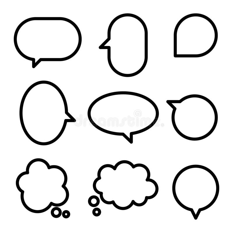 Free Collection Set Of Simple Black And White Speech Bubble Balloon In Circle, Cloud, Think, Speak, Talk, Template, Stock Image - 159500291