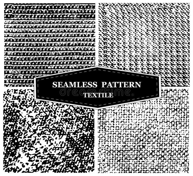 Set, modern texture for design. monochrome, black and white seamless background of lines, dots. textile natural fabric royalty free stock photography