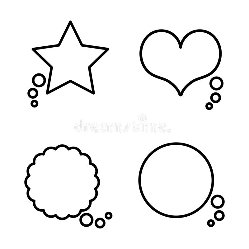 Collection set of simple black and white speech bubble balloon in circle, cloud, star, heart shape, think, speak, talk, template vector illustration