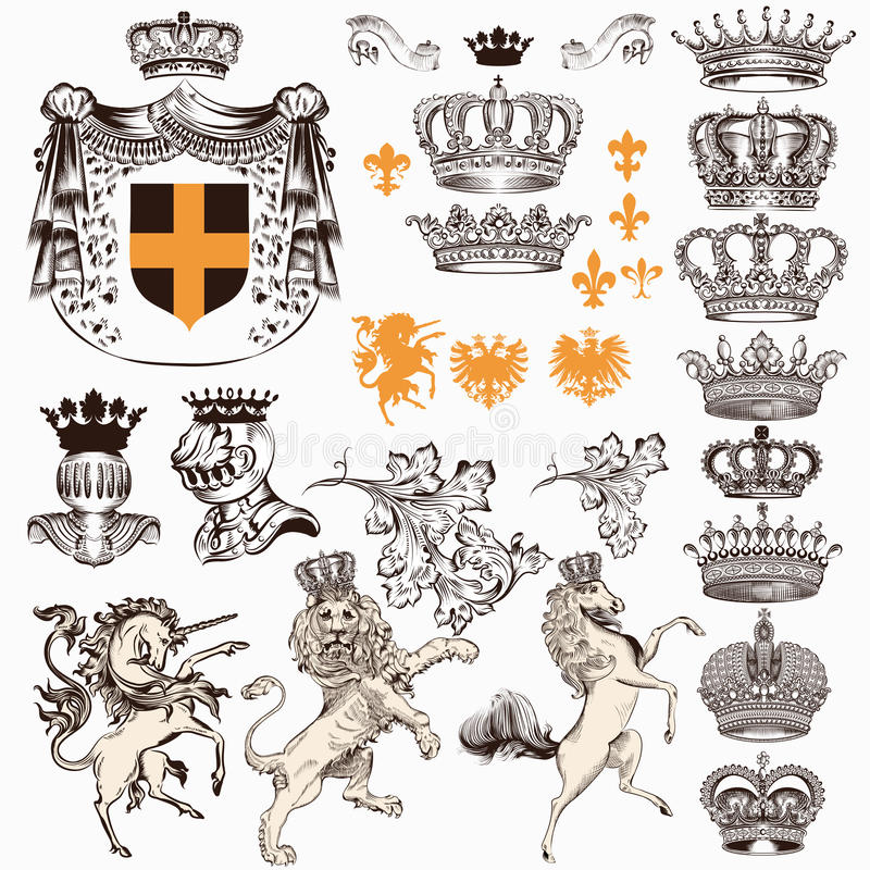 Collection or set of vintage styled heraldic elements horses unicorn lion shields crowns and other royalty free illustration